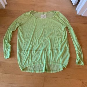 Free People lime green oversized boxy top